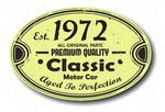 Distressed Aged Established 1972 Aged To Perfection Oval Design For Classic Car External Vinyl Car Sticker 120x80mm